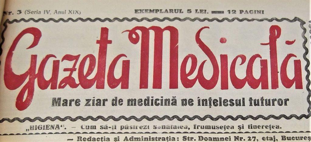 gazeta medicala, anul 1930
