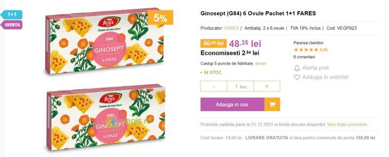 Ginosept (G84) 6 Ovule Pachet 1+1